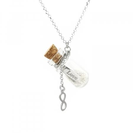 Lantisor Pandantiv Sticla Infinity Love Argint 925 Rodiat Personal Style [0]