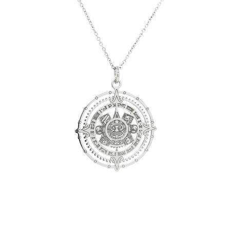 Lantisor Pandantiv Maya Sun Stone Calendar Stone Argint Personal Style [0]