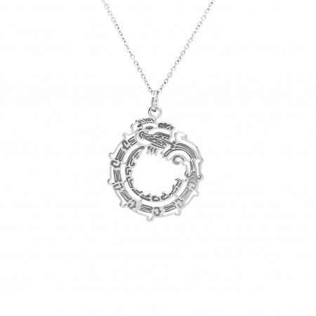 Lantisor Pandantiv Maya Symbol Ouroboruos Dragon Argint [1]