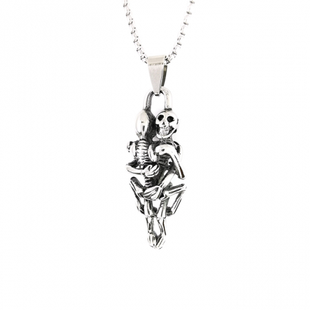 Lant Pandantiv Skull Love Never Dies Inox [0]