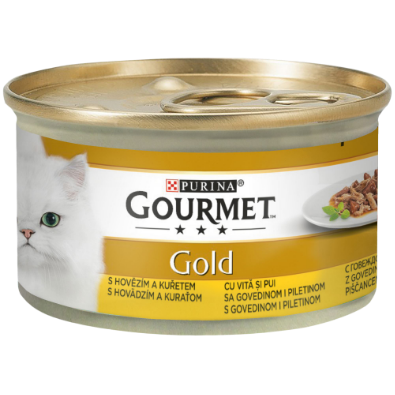 GOURMET GOLD DOUBLE PLEASURE CU VITĂ ȘI PUI ÎN SOS, 85g 0