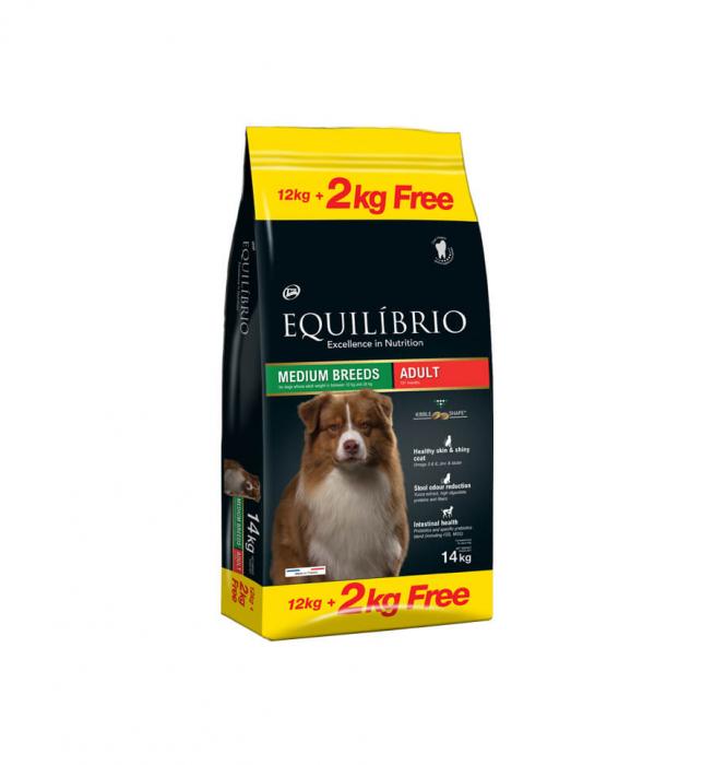 Equilibrio Adult Dogs, cu Pui, 12 + 2 Kg 0