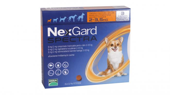 NexGard Spectra XS comprimate masticabile, 2-3.5 kg, 1 comprimat 0