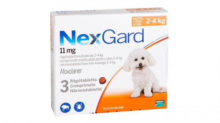 NexGard comprimate masticabile, 2-4 kg, 3 comprimate 0