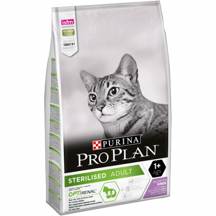 Purina PRO PLAN STERILISED OPTIRENAL cu Curcan 10 kg 0