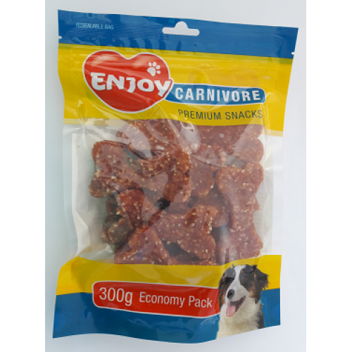 Recompense pentru caini Enjoy Carnivore cu miel si orez 300 g 0