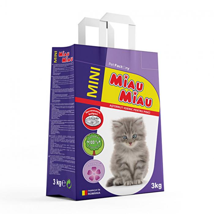 Asternut igienic bentonita, Miau Miau cu Lavanda, 3 kg [0]