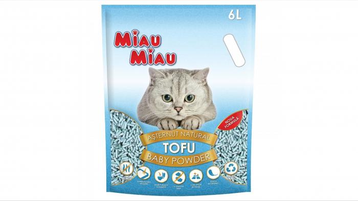 Asternut natural din tofu, Miau Miau, Baby Powder, 6l [0]