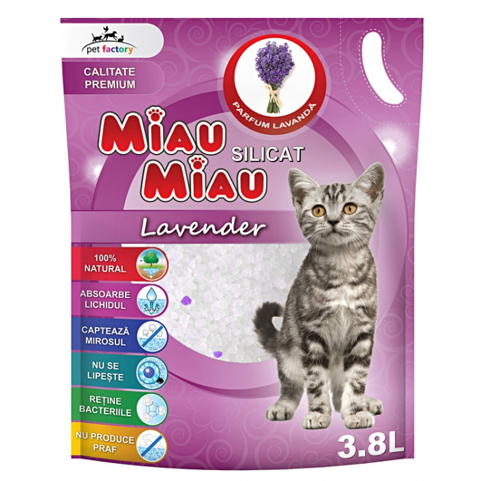 Asternut Igienic Silicat Miau Miau Lavanda, 3.8 litri 0
