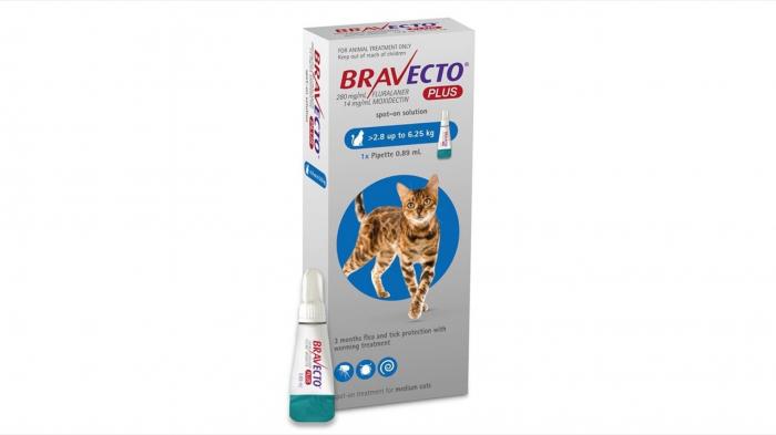 Bravecto Plus Spot On Cat 250 mg (2.8 - 6.25 kg), 1 pipeta 0