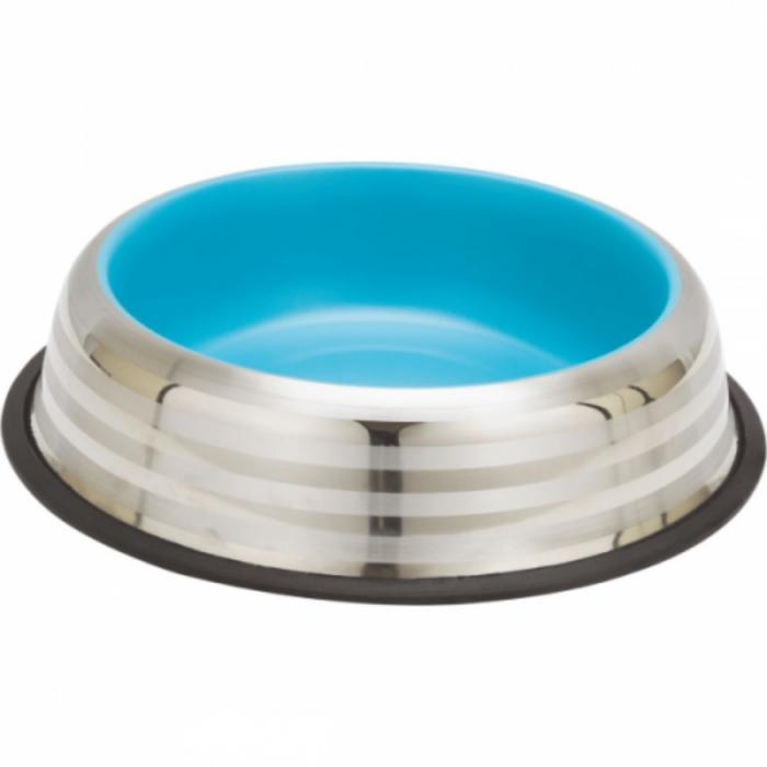 Castron din inox pentru pisici Enjoy Blue&Silver Stripes 470 ml 0