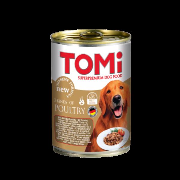 Conserva hrana umeda Tomi caine cu 3 feluri de pasare, 400 g 0