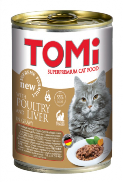Conserva hrana umeda Tomi pisica cu Pui, 400 g 0