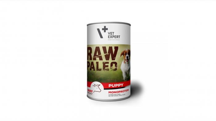 Hrana umeda pentru caini, RAW PALEO Puppy, carne de Vita, 400 g 0
