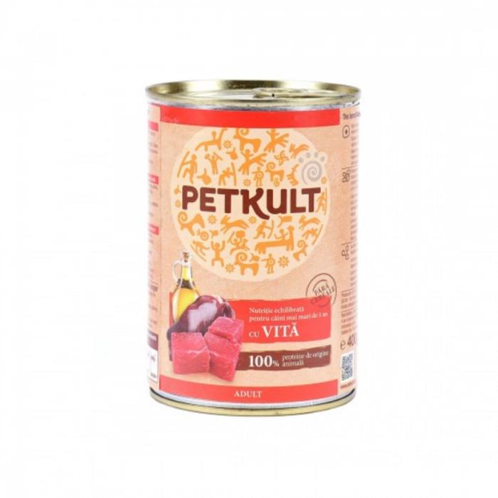 Hrana umeda Petkult Adult cu vita 400 g 0