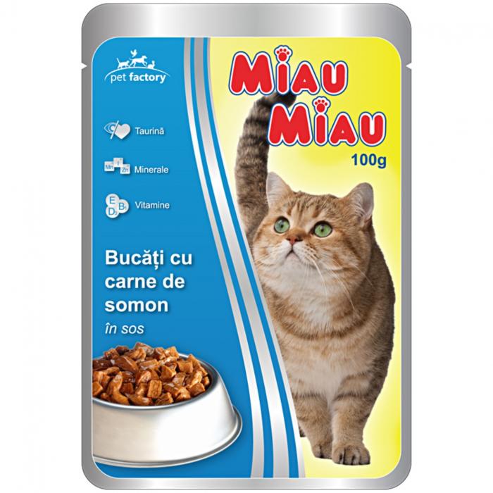 Hrana umeda pisici, Miau Miau, Somon, 100g [0]