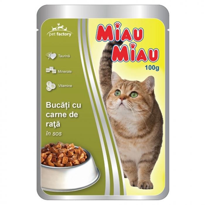 Hrana umeda pisici, Miau Miau, Rata, 100g [0]