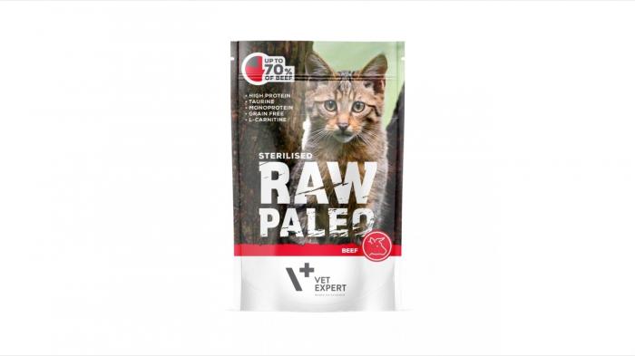 Hrana umeda pentru pisici sterilizate, RAW PALEO CAT, carne de vita, 100 g 0