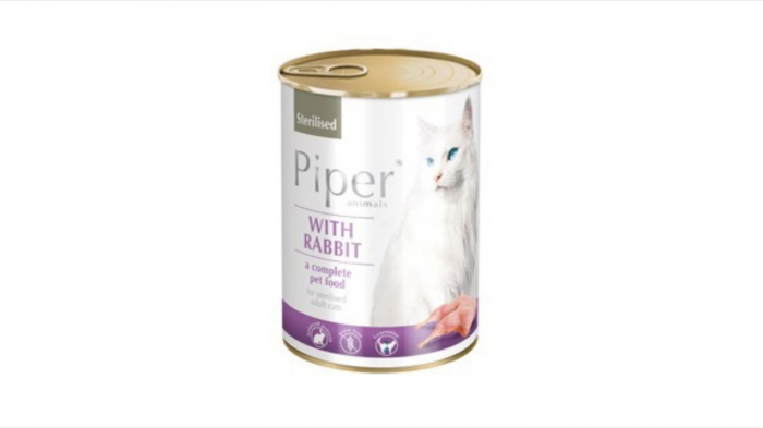 Conserva hrana umeda Piper Cat Sterilised, Iepure 400 g 0