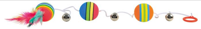 Jucarie 3 mingi Rainbow cu Clopotel Pe Sfoara 3.5 cm 0