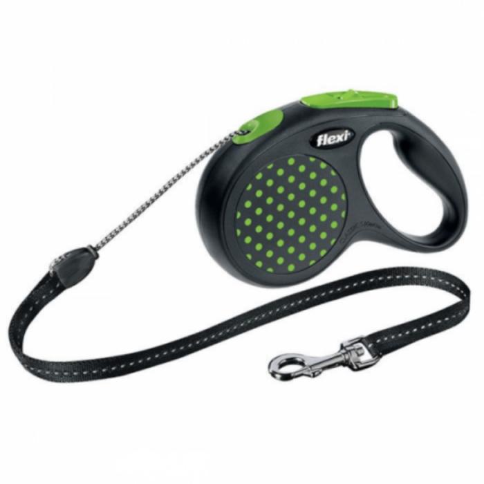 Lesa pentru caini Flexi Design Dots verde cu snur S 5M 0