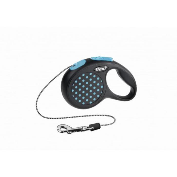Lesa pentru caini Flexi Design Dots albastra cu snur M 5M 0