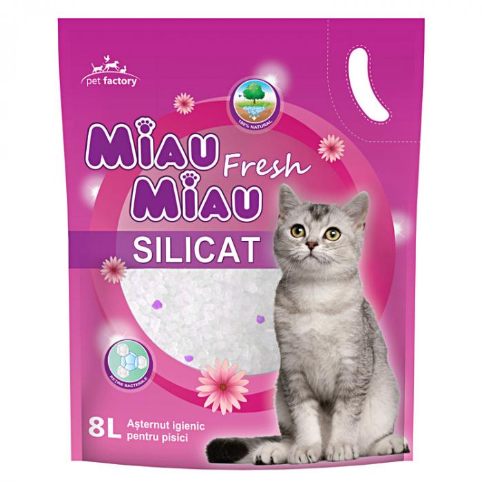 Asternut igienic pentru pisici Miau Miau, Floral, Silicat 8L 0