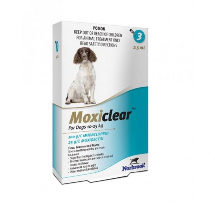 Moxiclear Caine Spot-On L 2.5 ml 10-25 kg 3 pipete 0