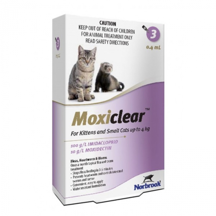 Moxiclear pipete antiparazitare pentru pisici sub 4 kg - 3 pipete 0