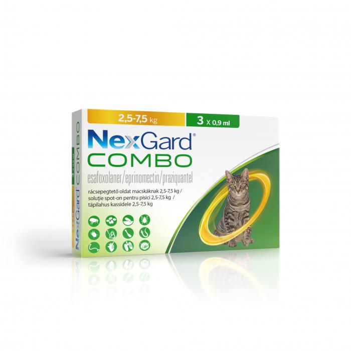 NexGard Combo solutie spot-on pentru pisici de 2.5-7.5 kg, 3x0.9ml [0]