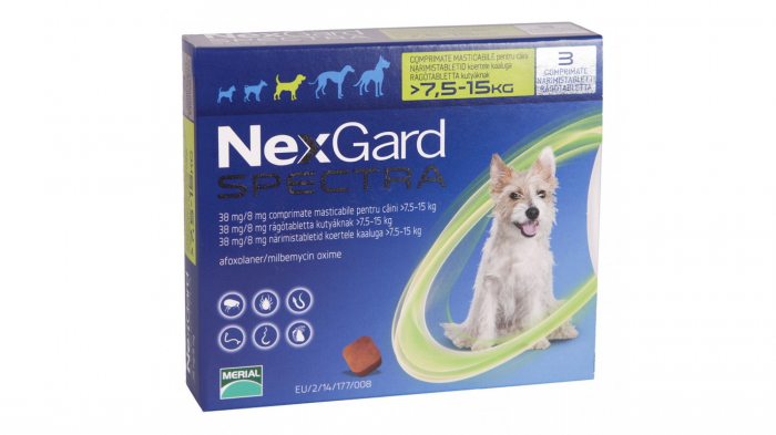 NexGard Spectra M comprimate masticabile, 7.5-15 kg, 1 comprimat [0]