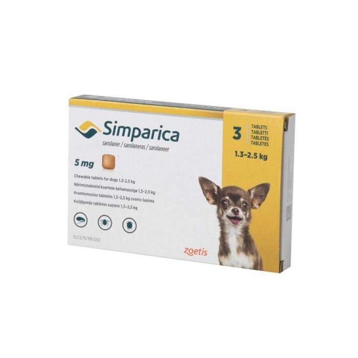 Simparica Caine 5 mg (1.3 - 2.5 kg), 3 comprimate 0