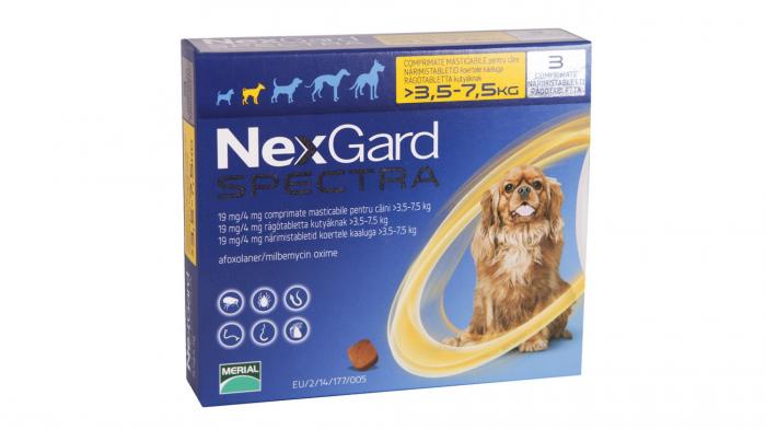 NexGard Spectra S comprimate masticabile, 3.5-7.5 kg, 3 comprimate [0]