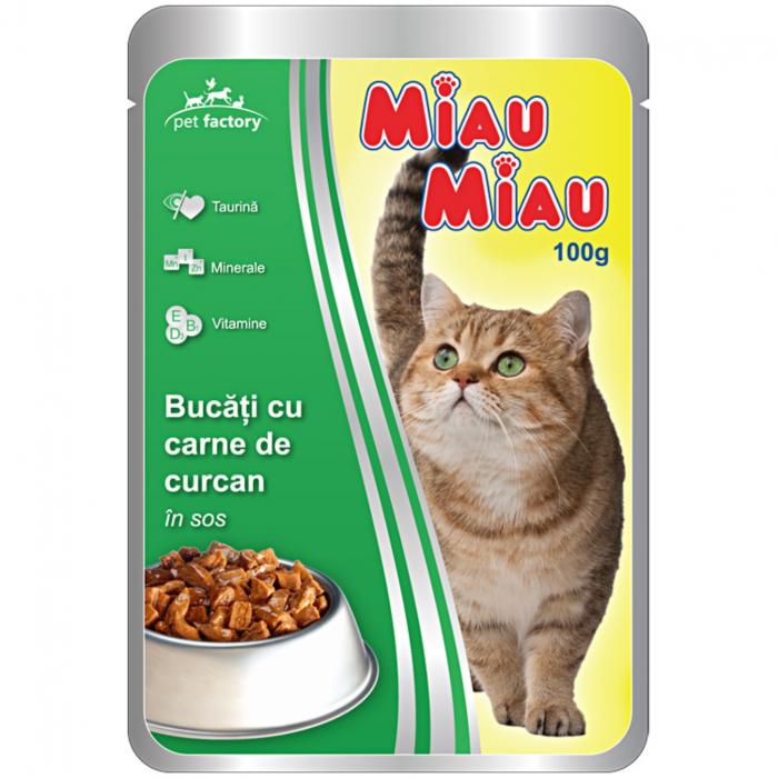 Hrana umeda pisici, Miau Miau, Curcan, 100g 0