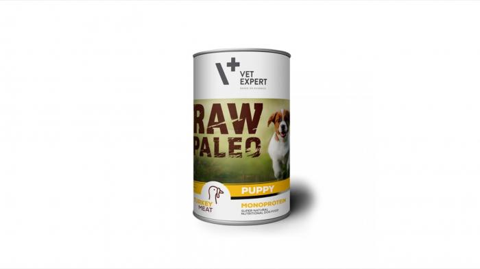 Hrana umeda pentru caini, RAW PALEO Puppy, carne de curcan, 400 g 0