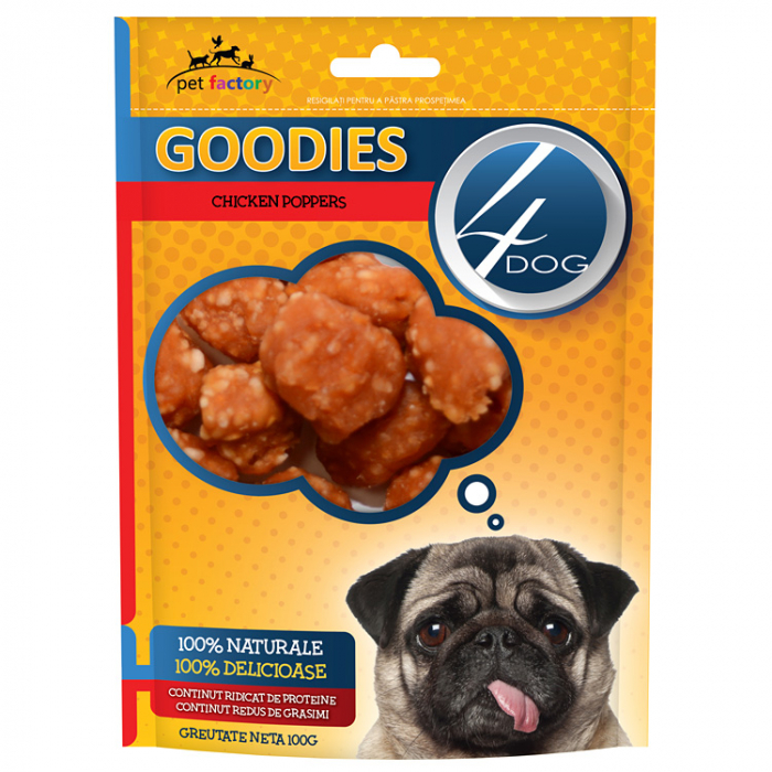 Recompense 4DOG Goodies Chicken Poppers 100g 0