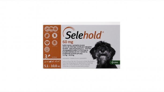Selehold pentru caini 60 mg / ml (5 - 10 kg), 3 x 0.5 ml 0