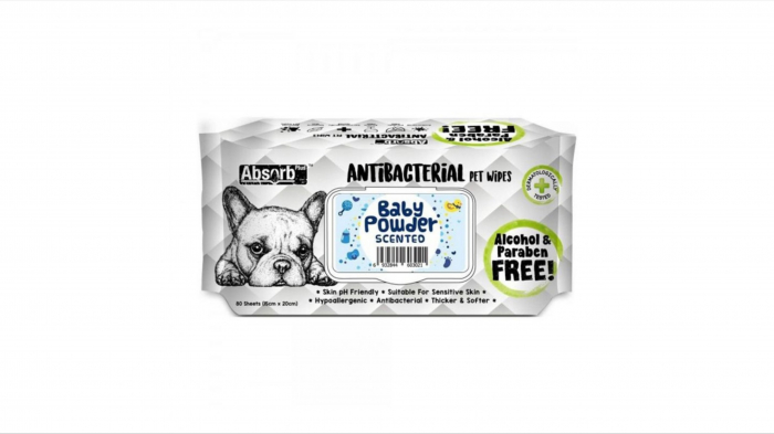 Servetele umede Antibacterial Pet WET Wipes, BABY POWDER- pachet 80 buc [0]