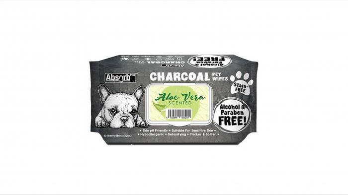 Servetele umede pentru animale, Absorbant Plus Charcoal Pet Wipes Aloe Vera, 80 bucati [0]