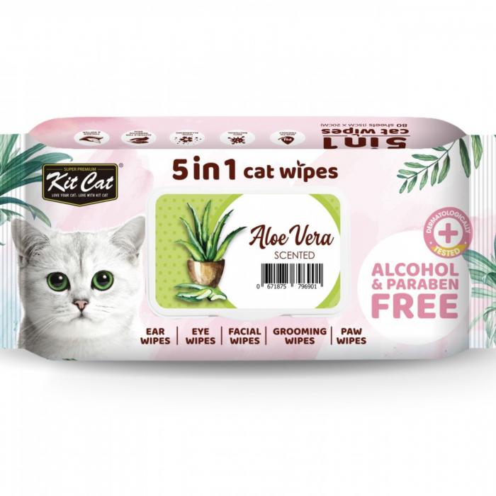 Servetele umede pentru pisici, KIT KAT, 5 in 1, Aloe vera, 80 buc [0]