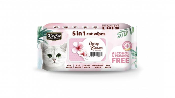 Servetele umede pentru pisici, Kit Cat 5in1 Cherry Blossom, 80 buc [0]