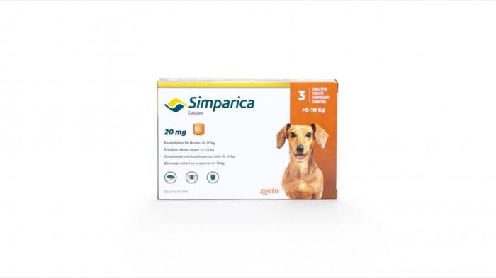Simparica Caine 20 mg (5 - 10 kg), 1 comprimat [0]