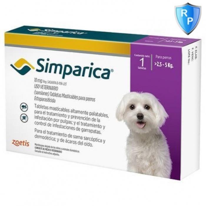 Simparica Caine 10 mg (2.5 - 5 kg), 3 comprimate [0]