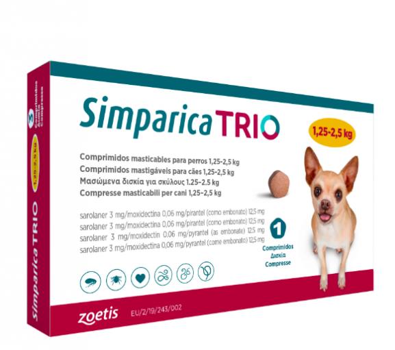 Simparica Trio Caini 3 mg(1.25 - 2.5 kg) Deparazitare interna si externa, 3 x comprimate masticabile 0