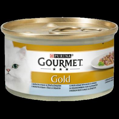 GOURMET GOLD DOUBLE PLEASURE CU PEȘTE OCEANIC ȘI SPANAC ÎN SOS, 85g0