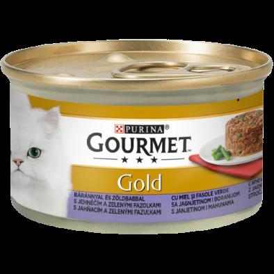 GOURMET GOLD SAVOURY CAKE CU MIEL ȘI FASOLE VERDE, HRANĂ UMEDĂ PENTRU PISICI, 85g0