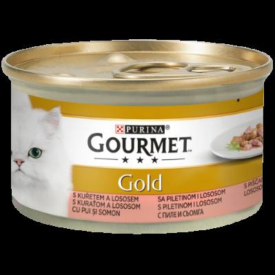 GOURMET GOLD CU PUI ȘI SOMON ÎN SOS, 85g0