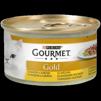 GOURMET GOLD DOUBLE PLEASURE CU VITĂ ȘI PUI ÎN SOS, 85g0