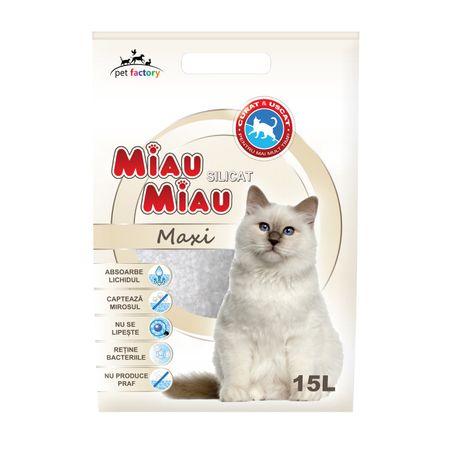 Asternut igienic pentru pisici Miau-Miau, Silicat, 15L0