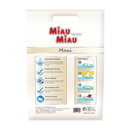 Asternut igienic pentru pisici Miau-Miau, Silicat, 15L1